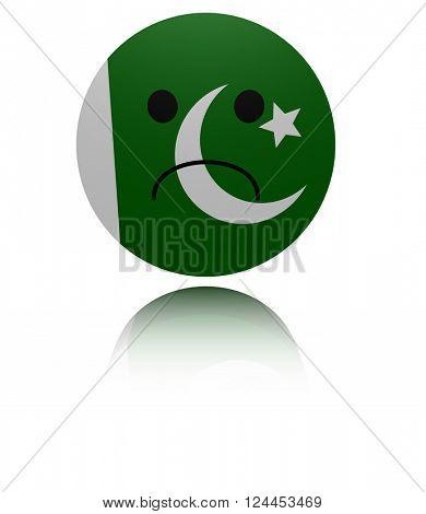 Pakistan sad icon with reflection 3D illustration