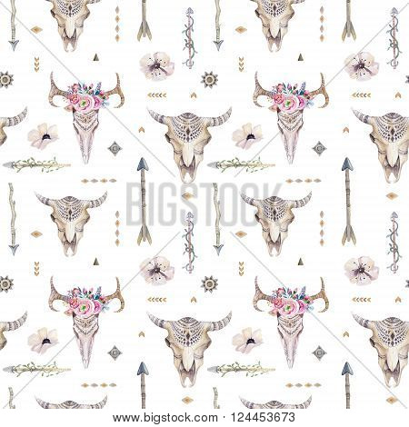 Watercolor boho seamless pattern with teepee arrows feathers cow skull. Decoration native tribal print. Aztec tomahawk ethnic design. watercolour art wallpaper. Isolated on white