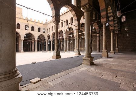 CAIRO EGYPT - FEBRUARY 24: Sultan al Nasir Muhammad Mosque Courtyard in Cairo on FEBRUARY 24 2010. Mosque courtyard with arcaded corridors at Citadel in Cairo Egypt.