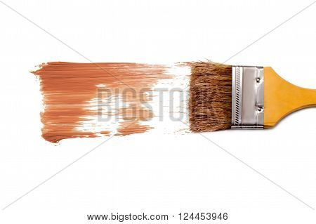 paint brush and dab of tone cream. foundation. texture. sample and brush isolated on white background