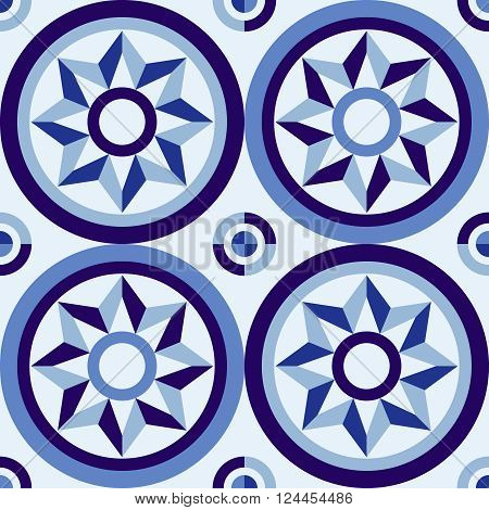 Classic Style Mosaic Tile Pattern With Blue Design