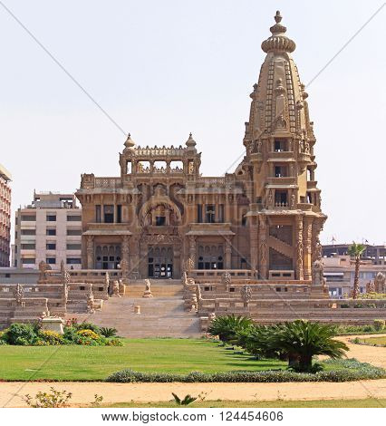 CAIRO EGYPT - MARCH 03: Baron Palace in Cairo on MARCH 03 2010. Abandoned Baron Empain Palace in Heliopolis City in Cairo Egypt.