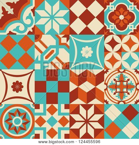 Ceramic Mosaic Tile Pattern With Geometry Shapes