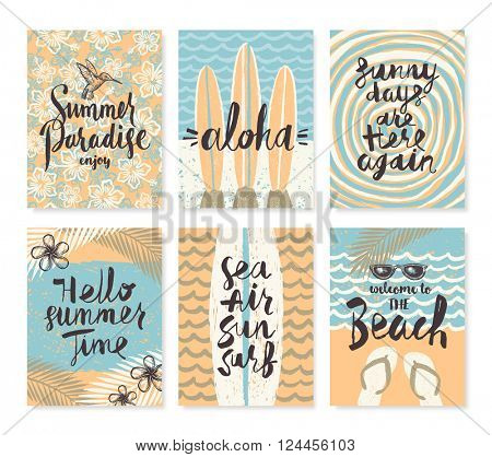 Vector set of summer holidays and tropical vacation hand drawn posters or greeting card with handwritten calligraphy quotes, phrase and words.