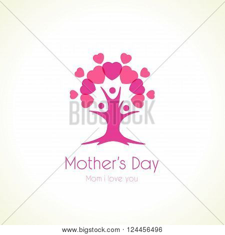 Mother's day tree love logo. Heart or love icons and family as tree, vector logo template