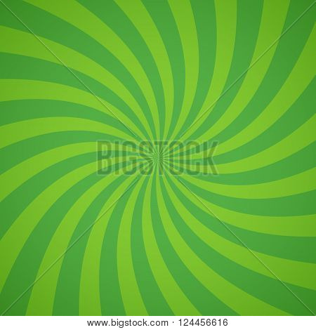 Swirling radial pattern background. Vector illustration for ecology circus design. Vortex starburst spiral twirl square. Helix rotation rays. Converging green scalable stripes. Fun sun light beams.