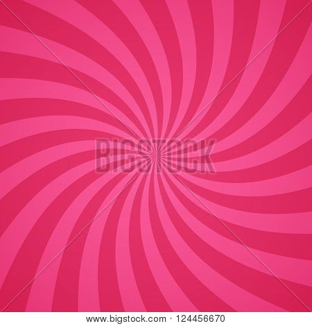 Swirling radial pattern background. Vector illustration for cute pretty circus design. Vortex starburst spiral twirl square. Helix rotation rays. Converging pink scalable stripes. Fun sun light beams.