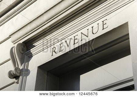 Word REVENUE engraved on the facade of the goverment building