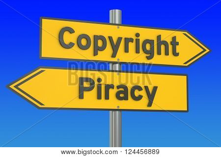 copyright vs piracy concept 3D rendering on the signpost