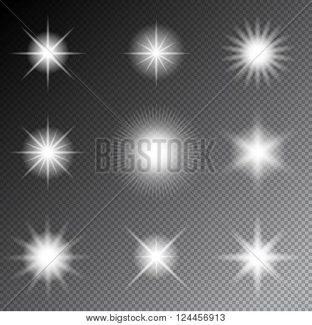Stars and sparkles vector. Glowing light stars and flare sparkles on transparent background