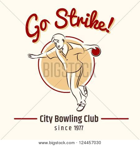 Bowling poster. Bowling hand drawn retro poster vector illustration