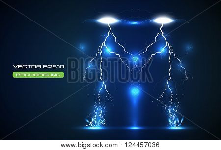 illustration of sparkling lightning bolt with electric effect. Vector Illustration. EPS 10.