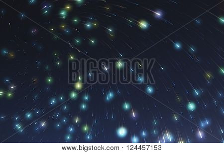 Colorful stars light night sky abstract background..