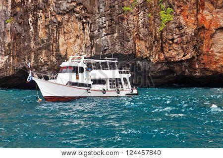 Boat near the islands in Andaman sea near Phi Phi islands. Thailand