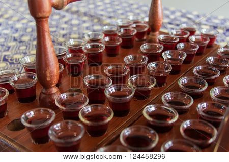 Communion cups filled with wine