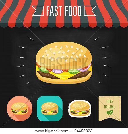 Cheeseburger icon on a chalkboard. Set of icons and eco label. Flat design. Vector illustration