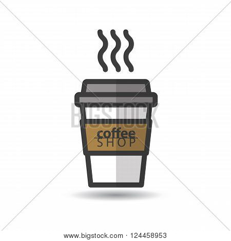 Disposable coffee cup icon with coffee shop logo. Vector, flat design