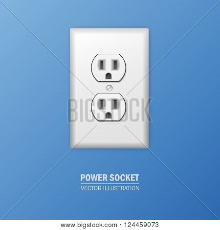 Background with realistic plastic power socket. Vector EPS10 illustration.