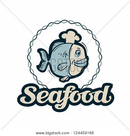 funny fish in chef s hat isolated on a white background. vector illustration