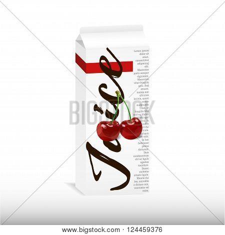 Cherry juice carton box vector illustration. For juice label, jam