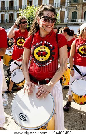 Spain Navarra Pamplona 10 July 2015 S Firmino fiesta girl with drum in the main square play for the feast