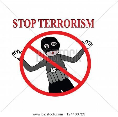 Stop terrorism sign illustration design over a white background