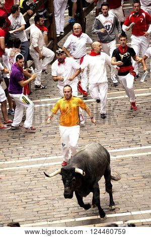 Spain Navarra Pamplona 10 July 2015 S Firmino fiesta called Encierro focus on people running