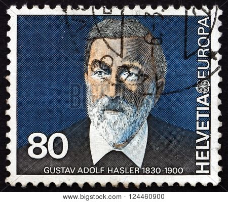 SWITZERLAND - CIRCA 1980: a stamp printed in the Switzerland shows Gustav Adolf Hasler Communications Pioneer circa 1980
