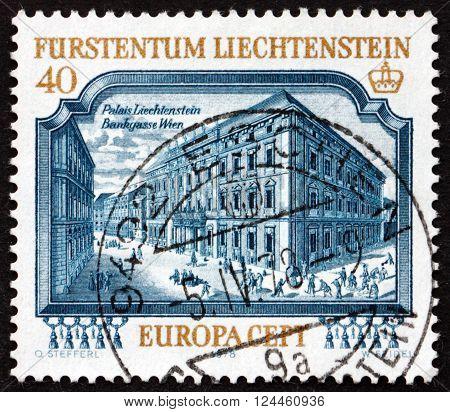 LIECHTENSTEIN - CIRCA 1977: a stamp printed in the Liechtenstein shows Liechtenstein Palace Vienna circa 1977