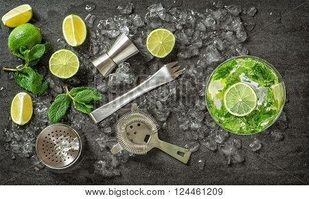 Cocktail drink making tools and ingredients. Mojito. Caipirinha