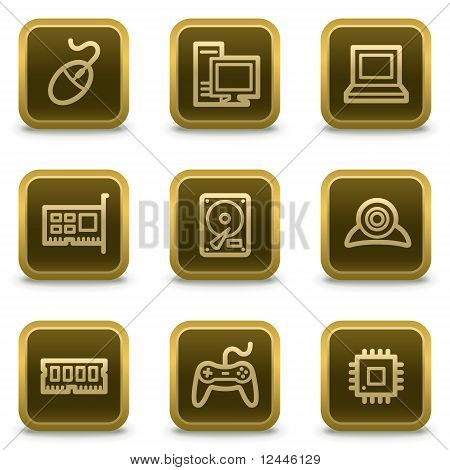 Computer Web Icons, Square Brown Buttons