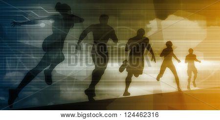 Fitness App Tracker Software Silhouette Illustration