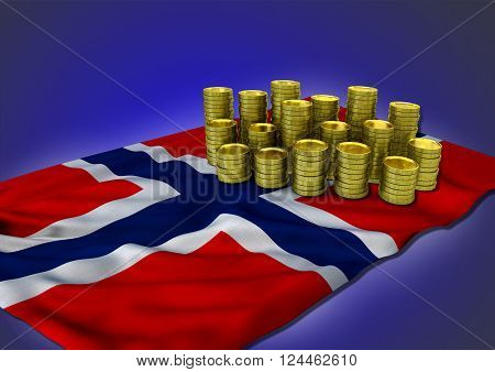 Norwegian economy concept with national flag and stack of golden coins on blue background 3D render