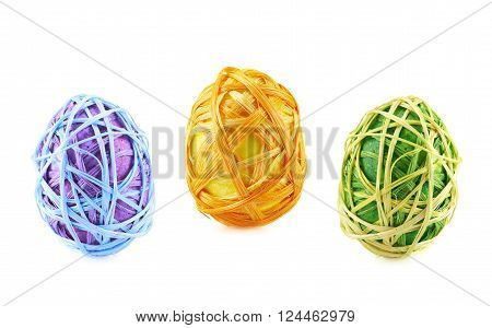 Colorful Easter egg decoration isolated over the white background, set of three colors
