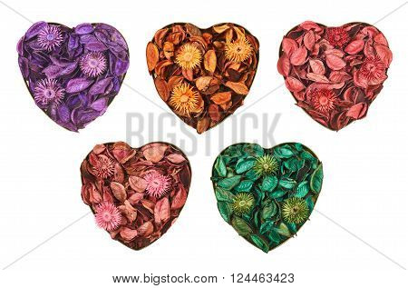 Heart shaped container filled with medley potpourri isolated over white background, set of five color versions