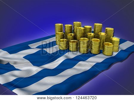 Greek economy concept with national flag and stack of golden coins on blue background - 3D render