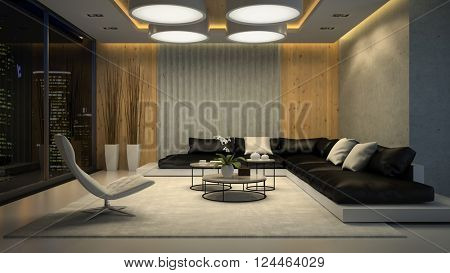 Interior of living room night view 3D rendering