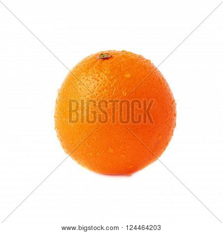 Orange ripe fruit covered with the multiple water drops, isolated over the white background