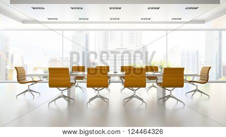 Interior of boardroom with orange armchairs 3D rendering