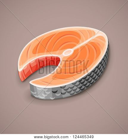 Salmon steak of red fish for sushi food menu vector illustration. Transparent objects used lights and shadows drawing