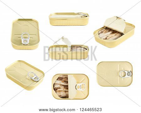 Easy open sardine can with the pull tab isolated over the white background, set of multiple foreshortenings, closed and opened