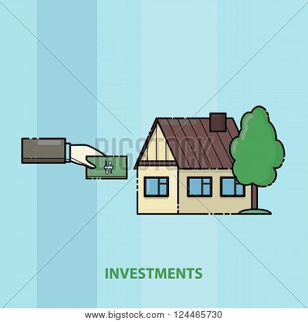 A man buys a house. Contributions to real estate. Mortgage. Color line art vector illustration
