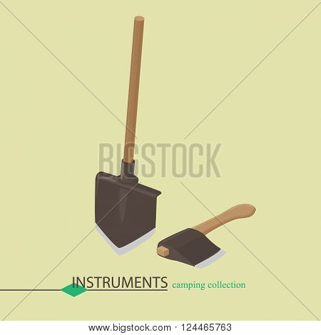 Tools for campaign shovel and an ax. Isometric vector illustration