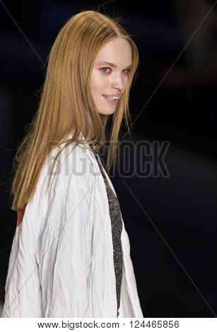 New York, NY - February 11, 2016: Luisa Bianchin walks the runway at rehearsal for Desigual Fall 2016 fashion show during New York Fashion Week