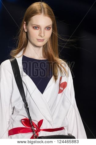 New York, NY - February 11, 2016: Dasha Gold walks the runway at rehearsal for Desigual Fall 2016 fashion show during New York Fashion Week