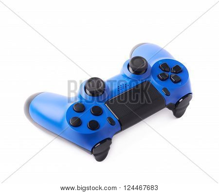 Gaming console blue plastic analog controller gamepad device isolated over the white background