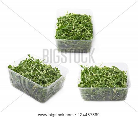 Eruca sativa rucola arugula fresh green rocket salad leaves in a plastic package box, isolated over the white background, set of three different foreshortenings