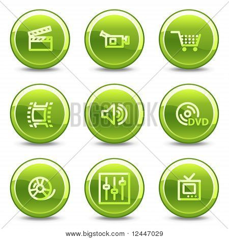 Video Icons, Green Circle Glossy Buttons