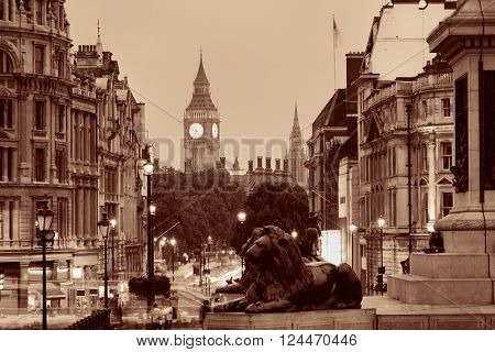Street view of Trafalgar Square at night in London in BW