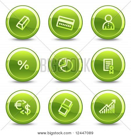 Money Icons , Green Circle Glossy Buttons